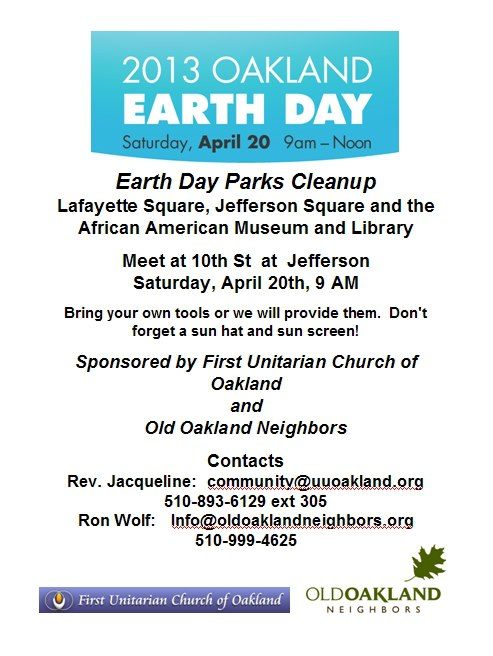 2013 Oakland Earth Day Parks Cleanup Flyer