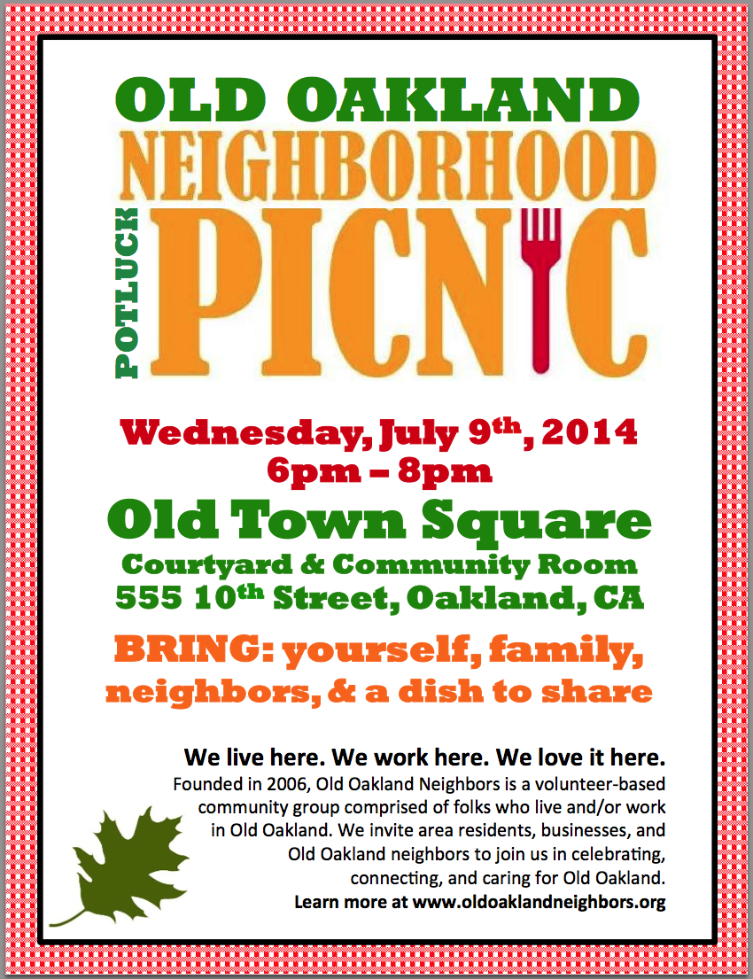 Jul 9, 2014: Neighborhood Potluck Picnic | Old Oakland ...