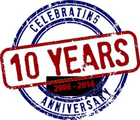 10 year anniversary stamp